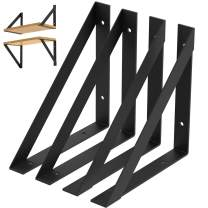 "Heavy Duty Shelf Brackets 10 inch - Rustic Industrial Modern Farmhouse Iron Wall Floating Shelf Bracket for DIY Open Shelving - 4 Pack Includes Hardware - Multiple Sizes Available (10"" × 10"")"