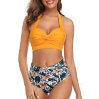 Heflashor Two-Piece High Waisted Sexy Swimsuit Bikini Set Bathing Suit for Women