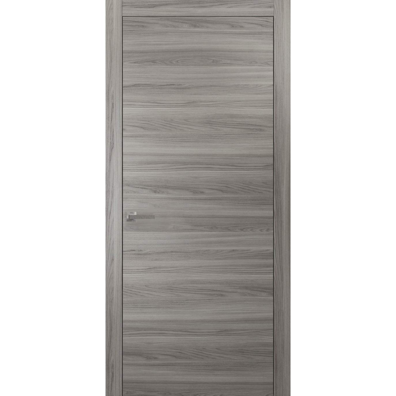 Wood Solid Door 36 x 80 inches | Planum 0010 Ginger Ash | Frame Trims Lever Hardware | Interior Modern Flush Pre-hung Grey Doors