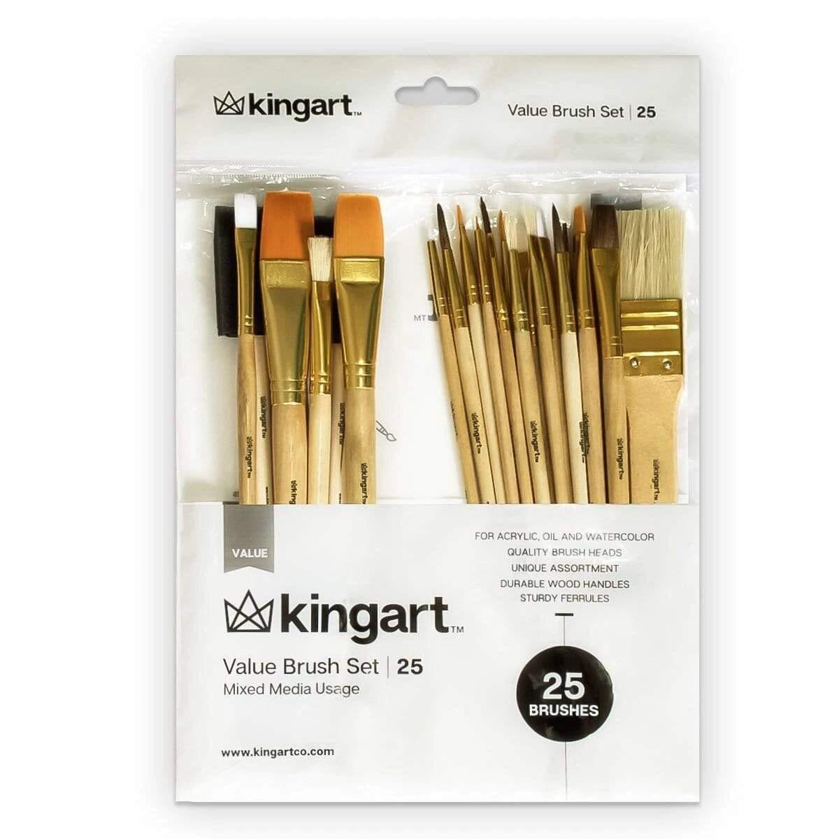 KingArt Value Set 25-Pack Mixed Media Paint Brushes, 25 ea, Piece
