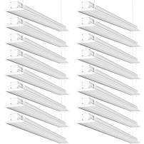 Sunco Lighting 16 Pack Flat LED Shop Light, 4 FT, Linkable Double Integrated LED, 40W=300W, 5000K Daylight, 4500 LM, Clear Lens, Plug in, Suspension Mount, Pull Chain, Garage - ETL + Energy Star