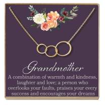 Dear Ava Grandmother Gift Necklace: New Grandmother, Grandmother to Be, 3 Asymmetrical Circles