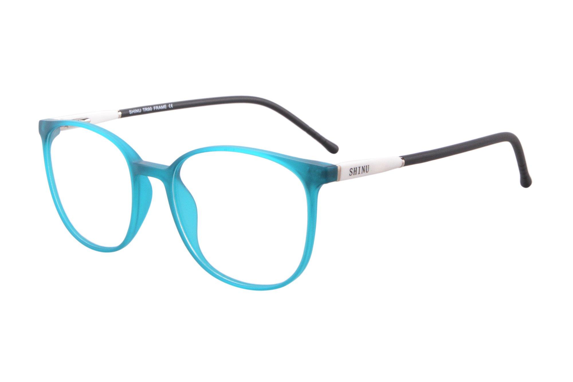 SHINU TR90 Lightweight Frame Progressive Multifocus Reading Glasses-SH079(blue, up 1.00 down 3.00)