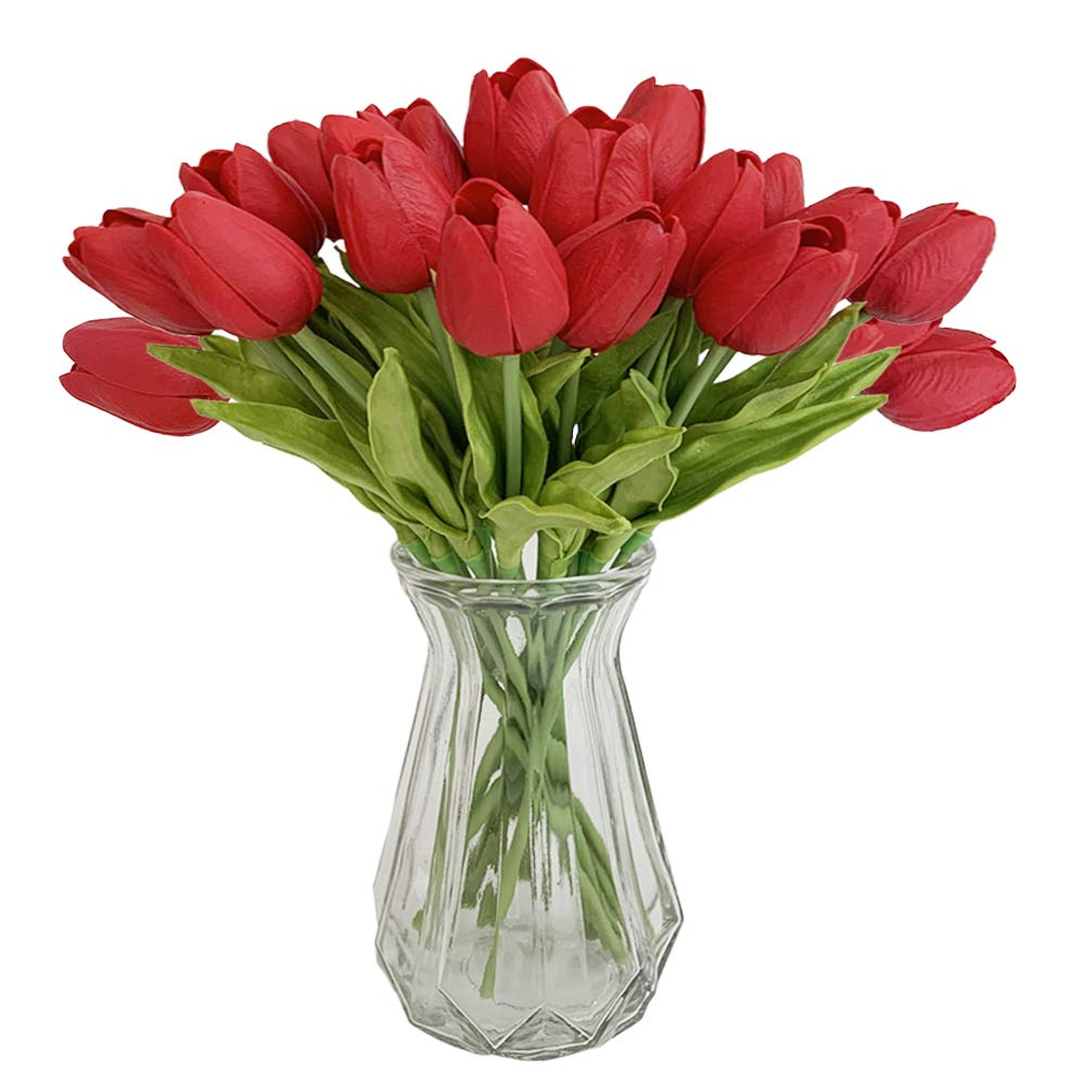 """OOTORI 20 pcs PU Real Touch Artificial Tulip Flowers 13.4"""" for Bouquet Room Centerpiece Flowers Arrangement Home Wedding Party Decor (Red)"""