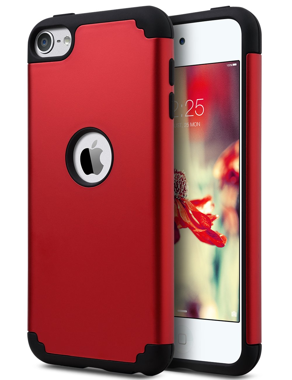 ULAK iPod Touch 7 Case, iPod Touch 6 Case, Slim Fit Hybrid Hard Back Cover with Shockproof Soft Silicone Interior Anti-Scratch Premium Case for iPod Touch 5th/6th/7th Generation, Red