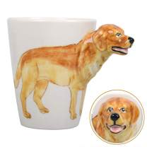 3D Coffee Pet Mug, WEY&FLY Animals Personalized Tea Cup, Creative Hand Painted 3D Dog Mug, Gift for Lovers Kids Friends (Labrador (Yellow))