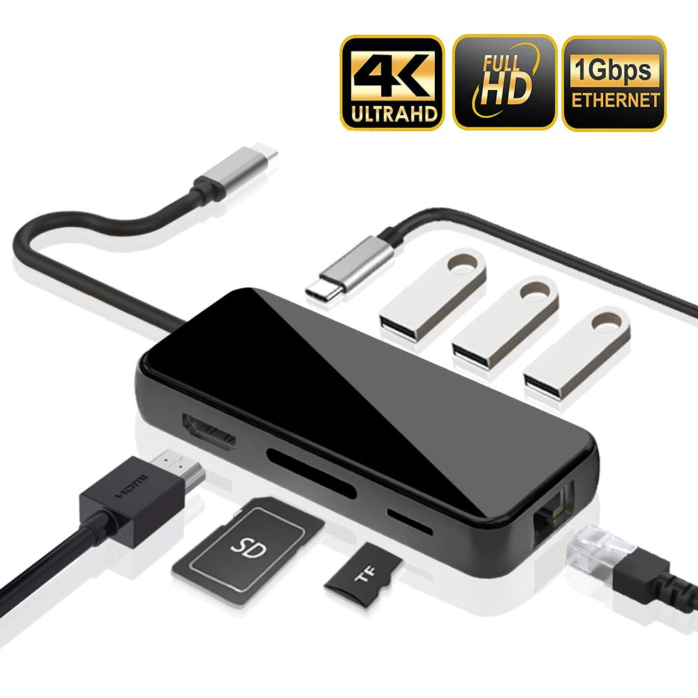 USB C Hub, Areson 8-in-1 USB C Hub Adapter, with Ethernet Port, 4K HDMI Output, Power Delivery, 3 USB 3.0 Ports, SD/TF Card Port, for MacBook/Pro/Air 2019/2018/2017, Chromebook XPS and More