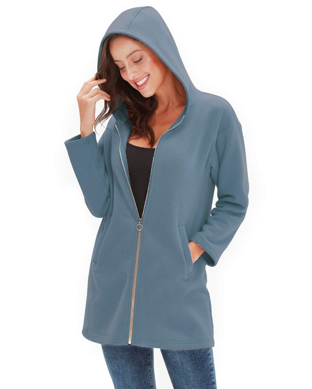 Amazhiyu Womens Zip up Hoodie Jacket Pocket Basic Long Sleeve Hoodie Tunic Casual Sweatshirts Coat