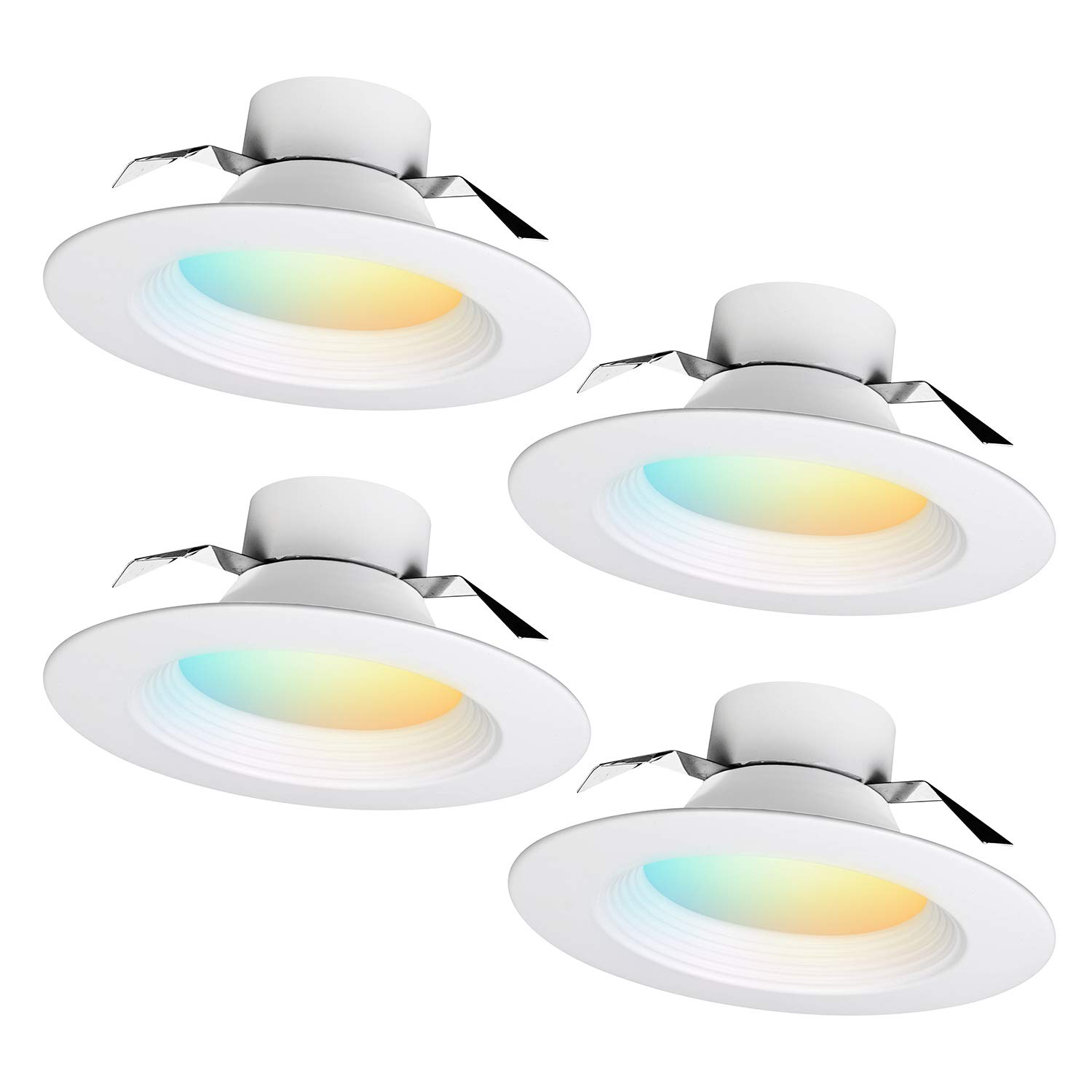 iBRIGHT 6 Inch Smart WiFi LED Recessed Downlight Ceiling Light Dimmable Multicolor, 13W 1050Lm 120VAC 2700K-6500K 60 Hz RGB No Hub Required (Compatible with Alexa & Google Assistant) (4 Pack)