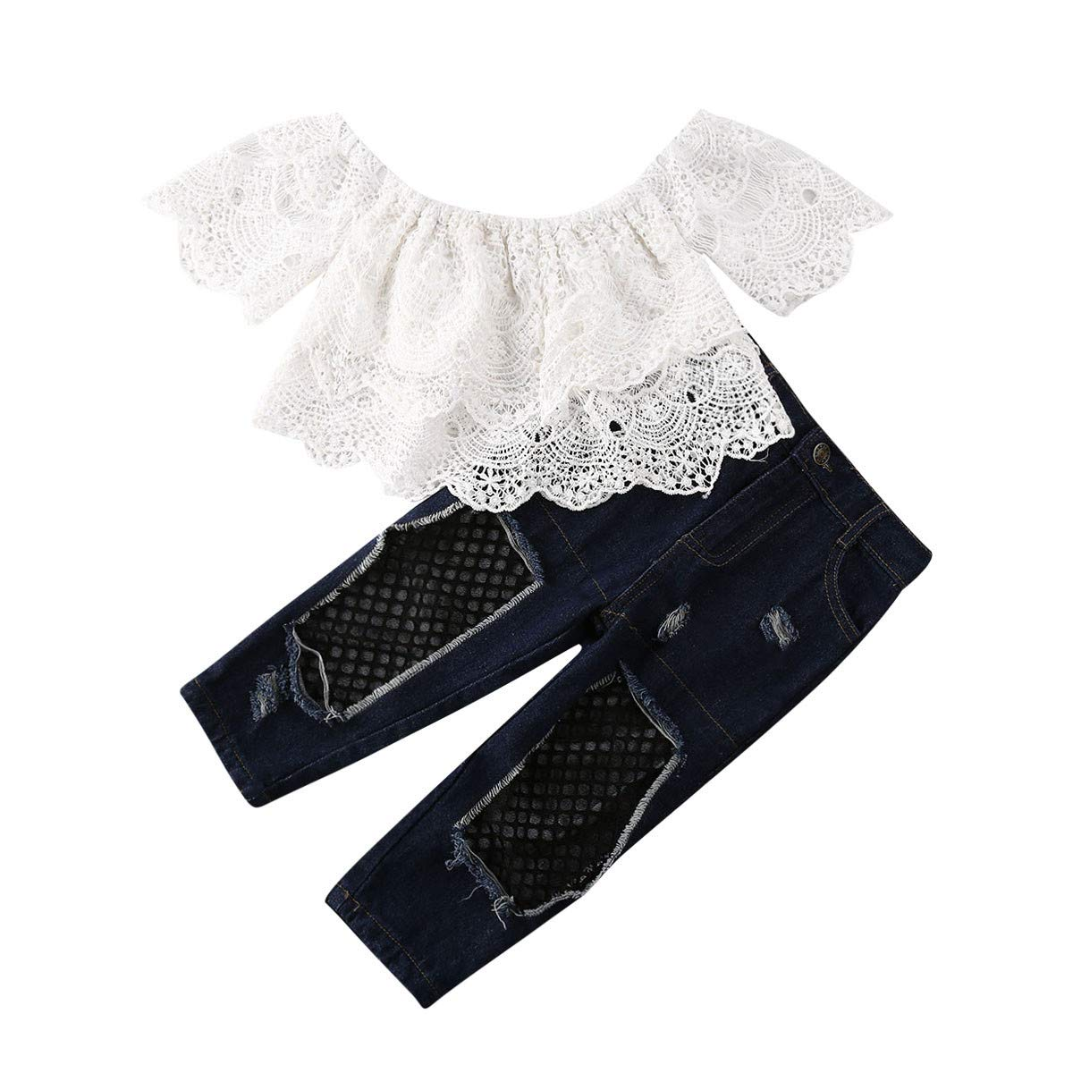 Toddeler Kids Baby Girl Off Shoulder Lace Tops+Ripped Jeans Mesh Hole Denim Pants Outfits Clothes Set