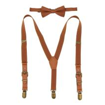 Boys Suspenders Bow Tie Set Tuxedo Braces with Leather and Bronze Clips for Kids
