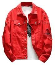 Kedera Distressed Denim Jacket Men's Button Down Denim Jacket Trucker Jean Coat
