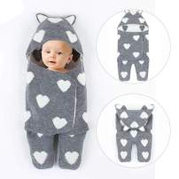 Newborn Baby Swaddle Blanket, Ultra-Soft Knit Sleeping Bag Unisex Baby Receiving Swaddling Wrap, Perfect (0-6 Month) (Grey)