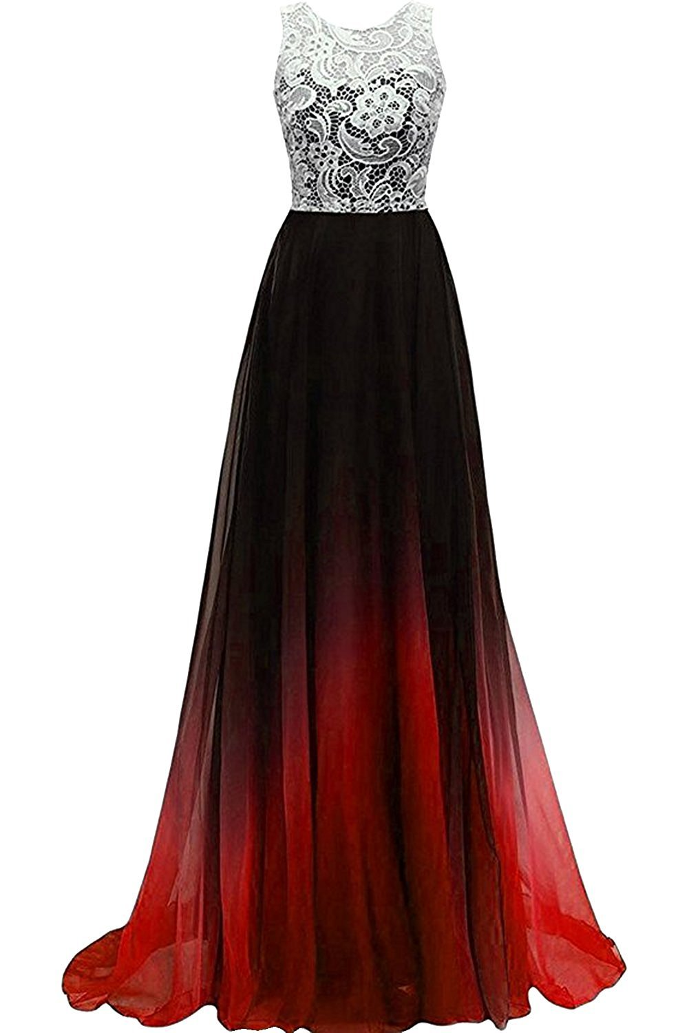 SUNVARY Laceshe Women's Colorful Gradient Prom Gown Long Sleeveless Chiffon Bridesmaid Formal Dresses
