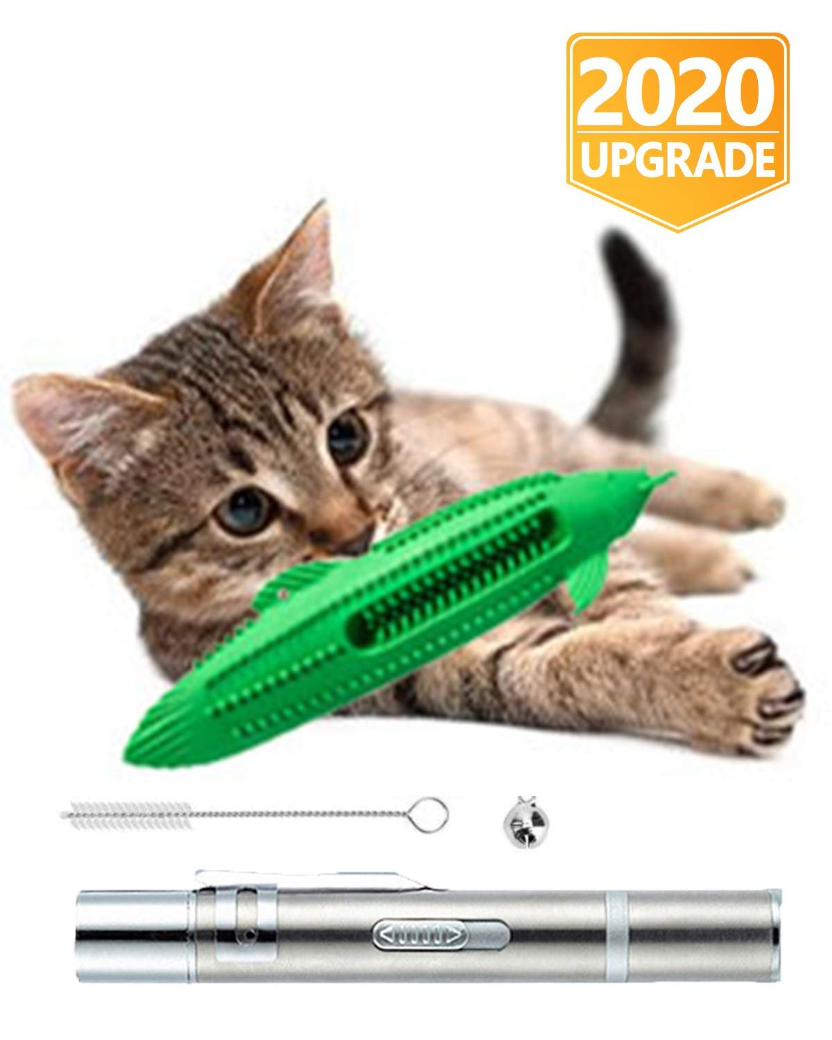 ZZTWO Catnip Toys Natural Rubber Interactive Fish Cat Toy Bite Resistance Cat Toothbrush Chew Toy Cat Teeth Cleaning Toys with Bell for Kitten Kitty (Green B)