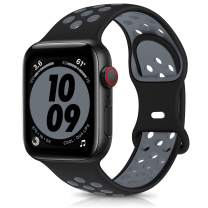 OYODSS Sport Bands Compatible with Apple Watch Band 38mm 40mm 42mm 44mm, Breathable Soft Silicone Replacement Wristband Strap Compatible with iWatch Series 6 5 4 3 2 1 SE Women Men Black&Grey