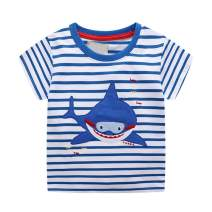 Toddler Kids Baby Boys Girls Shark Shirt Short Sleeve Stripes T-Shirt Tops Summer Clothes 2-7T