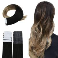 """Easyouth Tape in Real Hair Extensions Remy Human Hair 22"""" Balayage Color Off Black Fading to Ash Brown Highlighted with Blonde 50g 20pieces, Brazilian Human Hair Tape on Hair Extensions"""