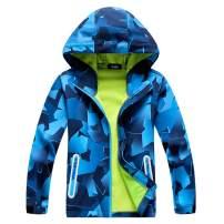 IjnUhb Boys Girls Outdoor Waterproof Rain Jackets Hooded Raincoats Zipper Packaway Windbreakers for Kids Clothes