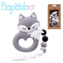 Baby Pacifier Clip with Teether Toys Fox Pendant Safe Plastic Clip Binky Holder Set for Infants and Toddlers(Grey)