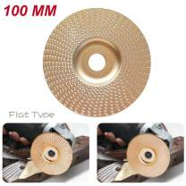 XuSha Wood Tungsten Carbide Grinding Wheel Disc Tungsten Carbide Abrasive Angle Grinder Wheel Wood Carving Grinding Disk (100mm Flat Gold)