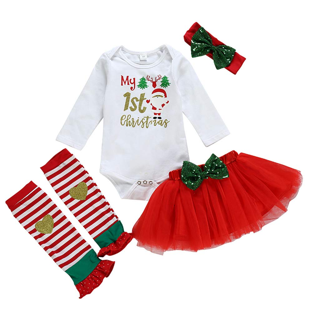 Baby Christmas Outfit My 1st Christmas Bodysuit Tutu Skirt Leg Warmers with Headband 4pcs Clothes Set
