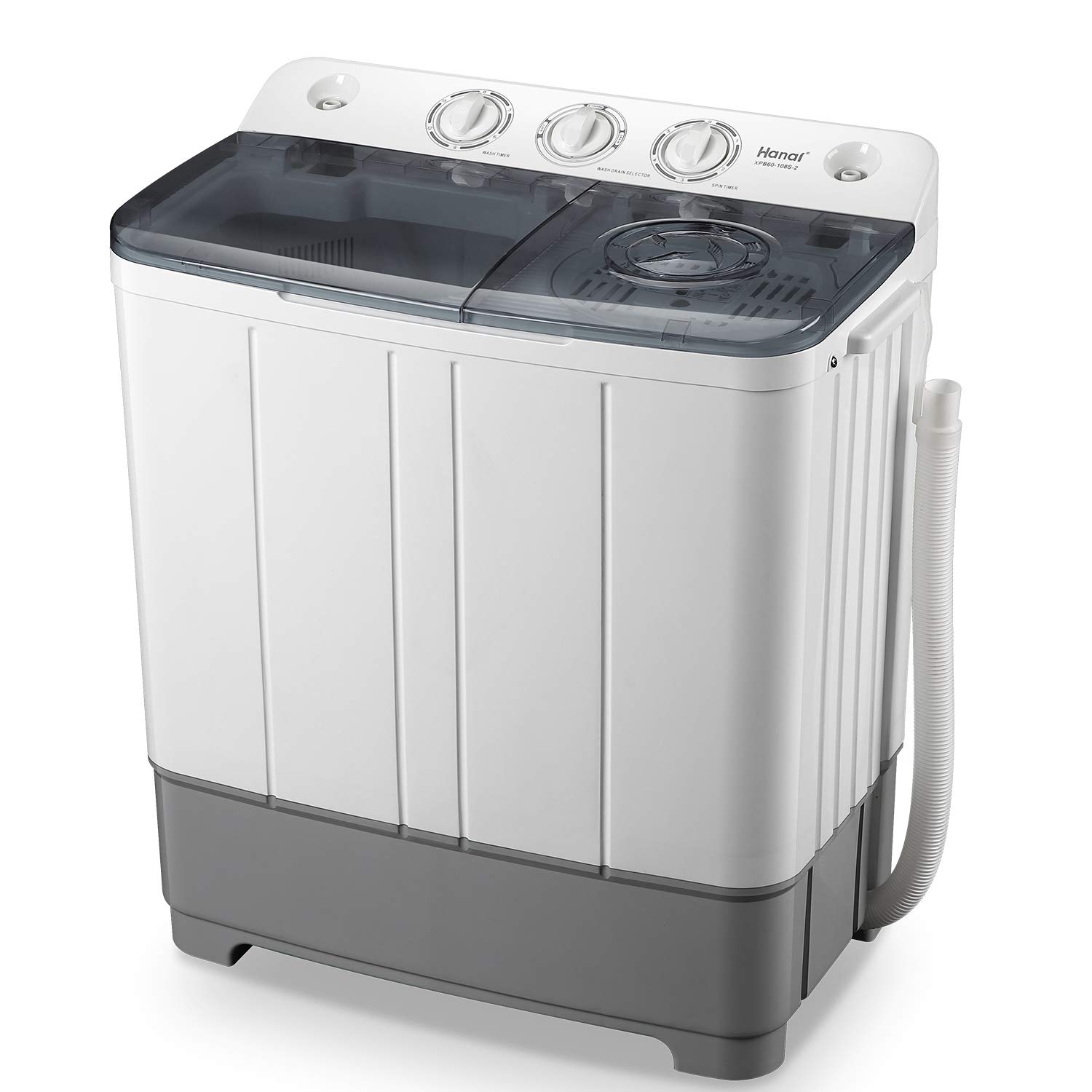 WANAI Portable Washing Machine Compact Mini Twin Tub Washer (13lbs) + Spinner (8lbs), Top-loading Washing Machine with Timer, Ideal for Dorms and Apartments