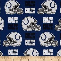 Fabric Traditions NFL Cotton Broadcloth Indianapolis Colts Blue/White Fabric By The Yard