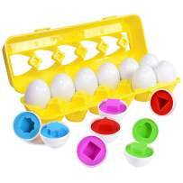 Easter Matching Eggs Gift for Toddlers 1 2 3 Year old Kids Boys Girls Educational Color Shape Eggs (12 Eggs in Carton)