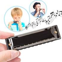 OleOletOy Harmonica for Beginners, Kids and Adults, Diatonic Mini Musical Instrument Toy for Toddlers, Key of C with 10 Holes and 20 Tones for Music Blues, Mouth Organ with Case and Polishing Cloth