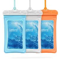 Cambond Floating Waterproof Phone Pouch, 3 Pack Waterproof Phone Case, Transparent PVC Water Proof Cell Phone Pouch Dry Bag with Lanyard for iPhone Xs Max XR X 8 7 6 Plus (Blue+White+Orange)