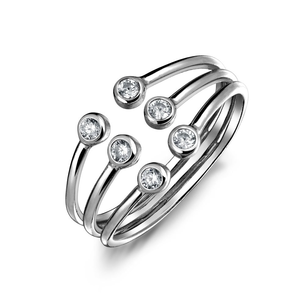 Geometric Stacking Style Cubic Zirconia CZ Open 3 Row Band Ring For Teen For Women 925 Sterling Silver Adjustable