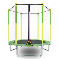 Trampoline with Safety Enclosure -Indoor or Outdoor Trampoline for Kids-Mini Trampoline Yellow/Green 5 FT,Trampoline for Toddlers Age 3-8
