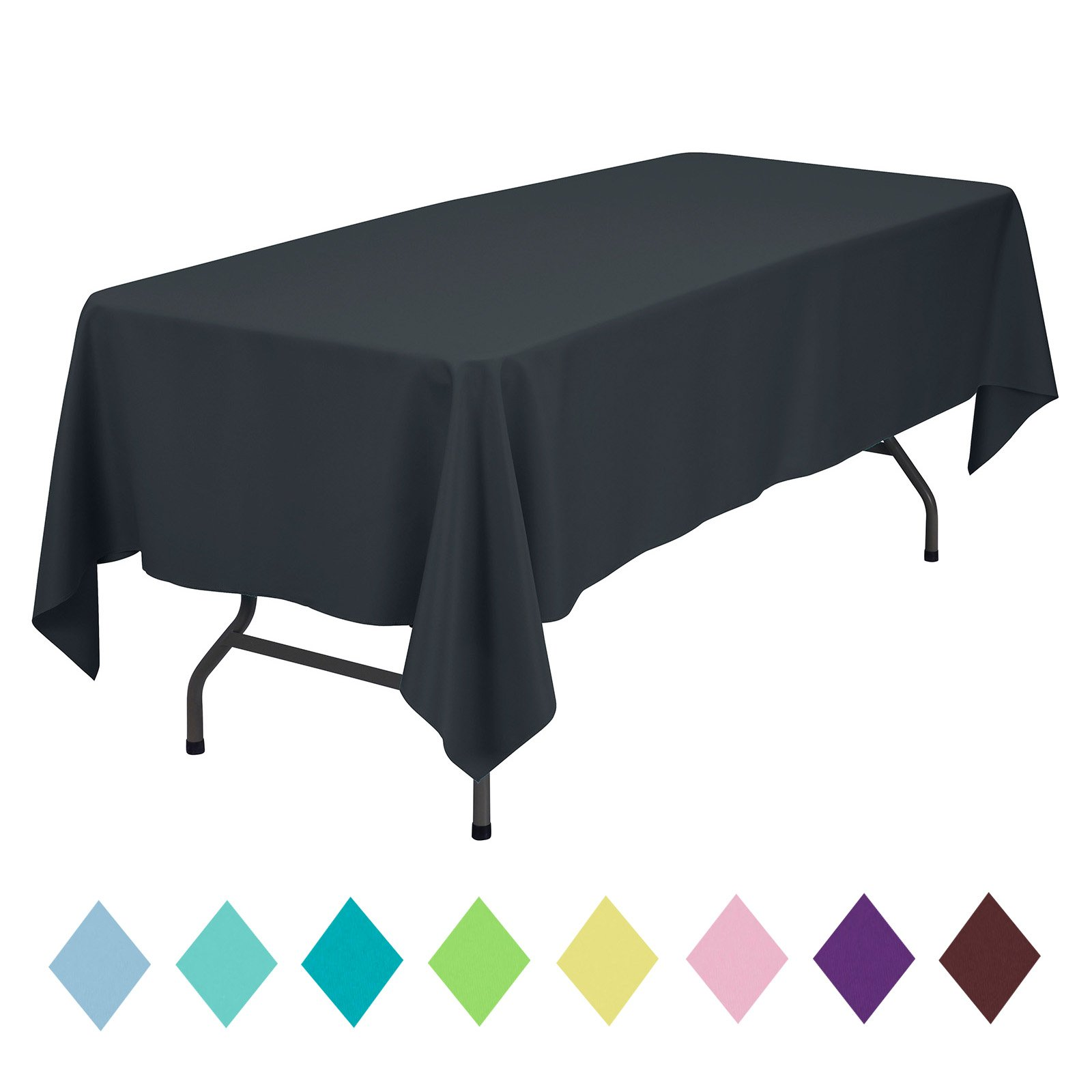 VEEYOO Rectangle Table Cloth Solid Color Polyester Tablecloth for Baby Shower Oblong Dinner Table Cover for Wedding Party Restaurant Outdoor Picnic (Dark Gray, 60x102 inch)