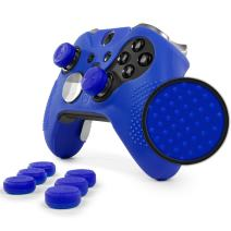 Elite v1 Grip Skin Set for Xbox One Elite v1 (NOT for Series 2) Controller by Foamy Lizard - Sweat Free Silicone Skin w/Raised Anti-Slip Studs + 8 QSX-Elite Thumb Grips (Skin + QSX-E Grips, Blue)