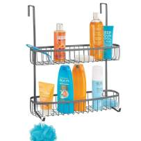 mDesign Extra Wide Metal Over The Bathroom Shower Door Caddy, Hanging Storage Organizer Center with Built-in Hooks and Baskets on 2 Levels for Shampoo, Body Wash, Loofahs - Graphite Gray