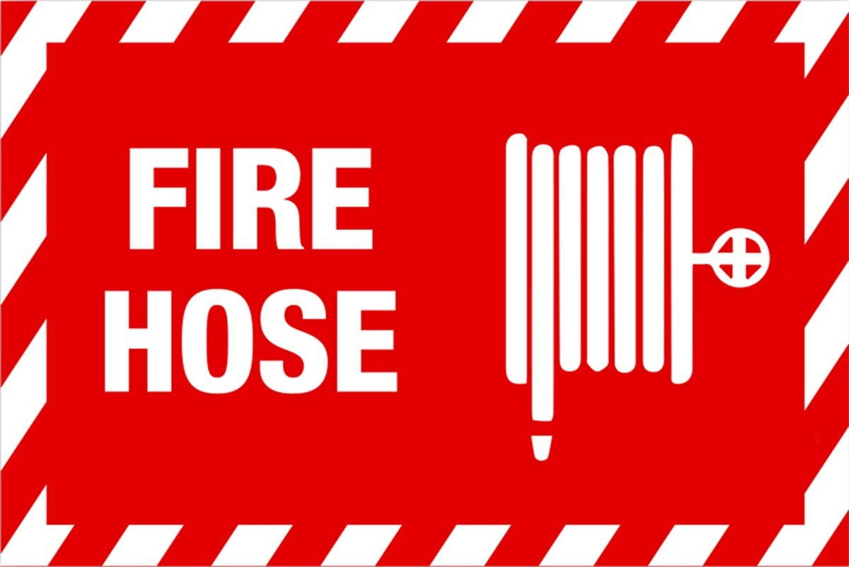 """ZING 2894G Zing Safety Sign, Fire Hose with Picto, 10"""" Height x 14"""" Width, Recycled Plastic, Glow in Dark, White on Red"""