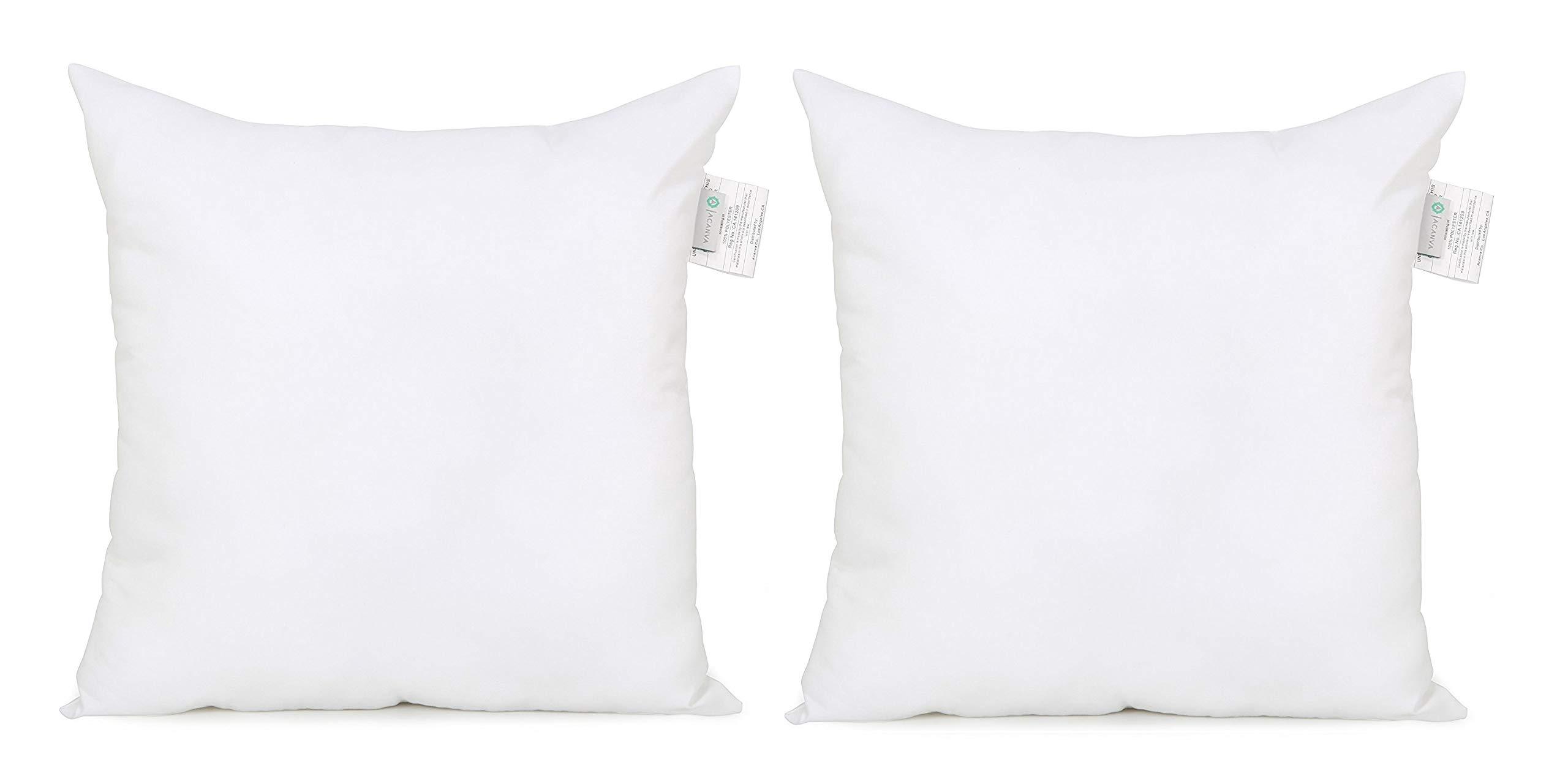 Acanva Down Alternative Throw Pillow Inserts Hypoallergenic Square Soft Form Stuffer Decorative Cushion Sham Filler, 24 x 24, White 2 Piece