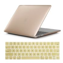 """Se7enline MacBook Pro 15 Case 2016 2017 2018 Released Matte Frost Smooth Plastic Hard Cover for MacBook Pro 15.4"""" with Retina Display A1707/A1990 Touch Bar Version with Keyboard Cover, Gold"""