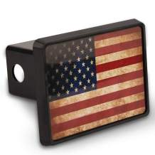 """Cootack USA Flag Trailer Hitch Cover Plastic Tube Hitch Plug Insert for Trucks Fits 2"""" Receivers American Patriotic Vintage Rustic Flag"""