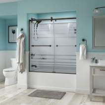 Delta Shower Doors SD3276680 Trinsic Semi-Frameless Contemporary Sliding Bathtub Door 60in.x58-3/4in, Bronze Track