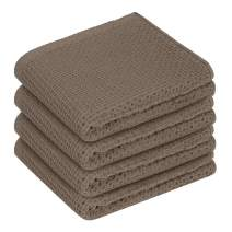 Lirex Waffle Weave Kitchen Towel Set, (4 Pack) Super Soft Premium Quick Absorbent Waffle Weave Drying Kitchen Towels Cotton Dishcloth Sets 100 Percent Cotton Dish Cloth, Machine Washable, Brown