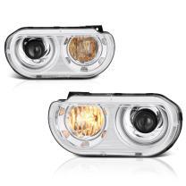 VIPMOTOZ Chrome Housing OE-Style Projector Headlight Headlamp Assembly For 2008-2014 Dodge Challenger Xenon HID Model, Driver & Passenger Side