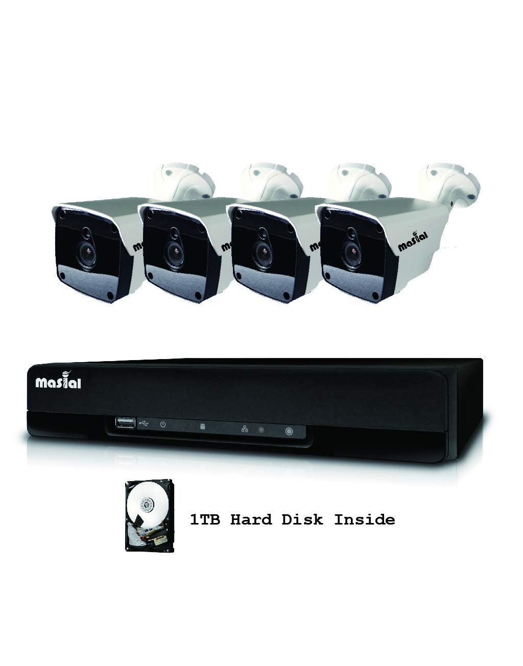 Masial 8CH Home Security Camera System, 1080P DVR Recorder Supports HD-AHD/TVI/CVI, with 4X HD 1080P Indoor Outdoor Weatherproof CCTV Cameras, 1TB Hard Drive, Smartphone, PC Easy Remote Access