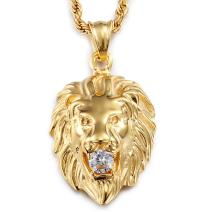 "Jewelry Kingdom 1 Mens Necklace Lion Pendant Necklace, Bigger in Size, Silver Plated Stainless Steel, 3PCS Shiny CZ Diamonds, Comes with Rope Chain 24""and in a Gift Box"