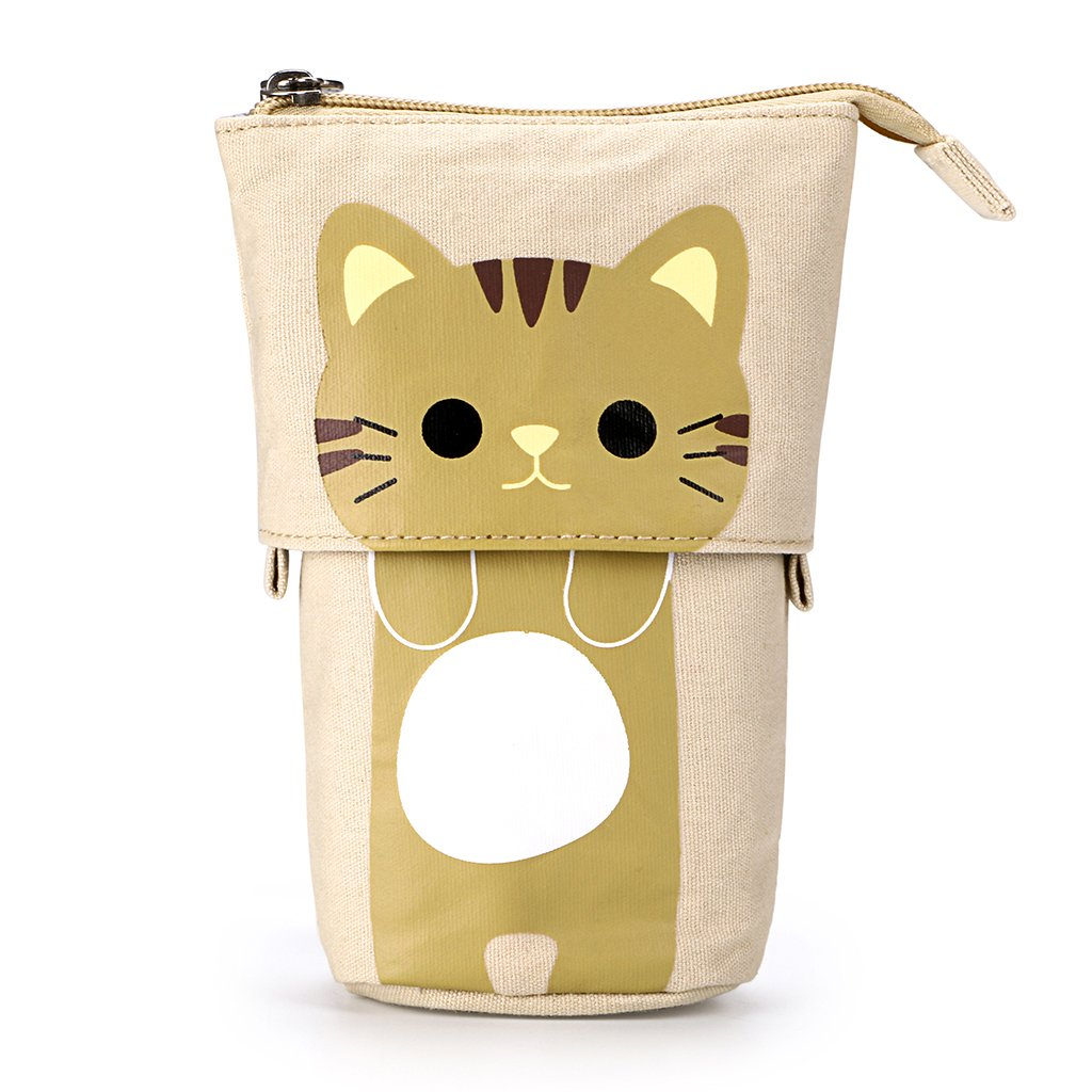 BTSKY Cute Carton Pen Pencil Case- Canvas Pencil Holder Pen Organizer Zipper Stationery Pouch Bag for Students Boys and Girls (Yellow)