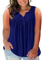 Yskkt Womens Plus Size V Neck Henley Tank Tops Summer Sleeveless Buttons Up Pleated Flowy Casual Tunic Tops