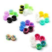 WBRWP 48/32pcs Ear Tunnels and Plugs - Double Flared Hollow Soft/Hard Silicone Ear Gauges - Ear Expander Stretcher Body Piercing Jewelry 8g-1""