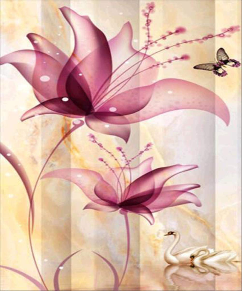EOBROMD 5D DIY Diamond Painting, Full Drill Paint with Diamonds Embroidery Wall Sticker for Wall Decor, Purple Flowers (12 x 16inch)