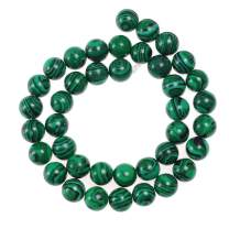 Natural Stone Beads 10mm Malachite Gemstone Round Loose Beads Crystal Energy Stone Healing Power for Jewelry Making DIY,1 Strand 15""
